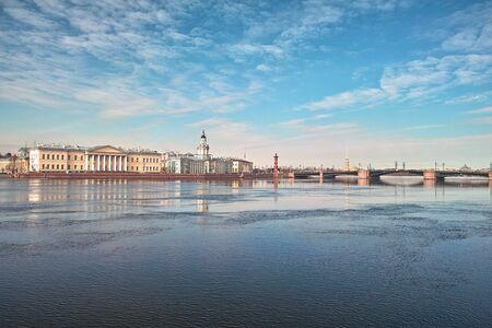 18th century buildings across the Neva river University quay in Saint Petersburg Stock Photo - 4636739