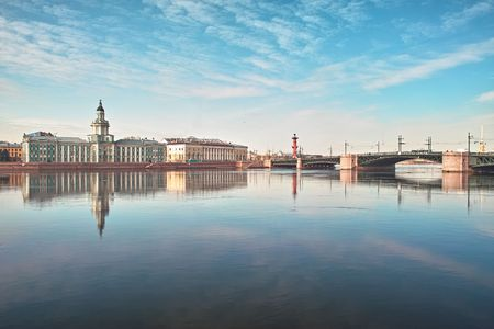 18th century buildings across the Neva river University quay in Saint Petersburg Stock Photo - 4636735