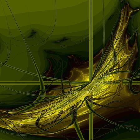 Golden spider web on dark green background, computer-generated fractal image Stock Photo