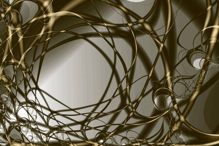Golden and pearl curves and shadows, computer-generated fractal image photo
