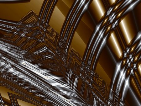 Steel and leather. Silver black and bronze highlighted stripes, computer-generated fractal image Stock Photo - 5030455