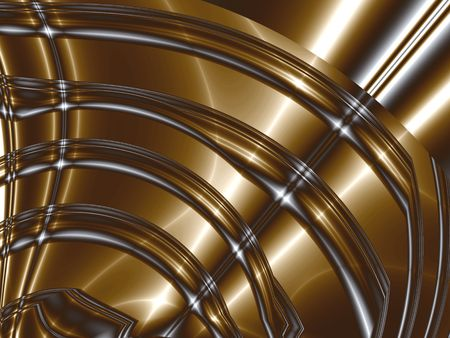 Steel and leather. Silver black and bronze highlighted stripes, computer-generated fractal image Stock Photo