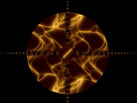Flame and corona in the sphere, computer-generated image