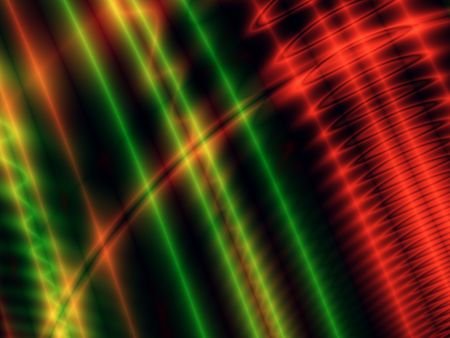 Red and green neon lights, computer-generated image