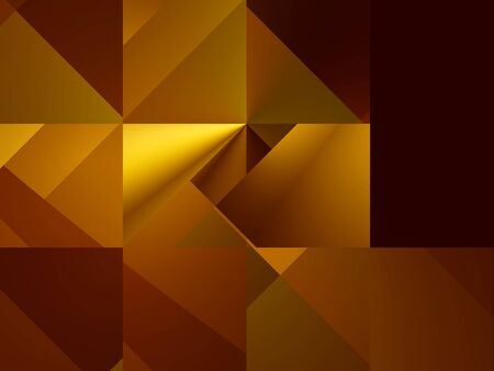 Geometry. Bright yellow and dark-red squares and triangles in suprematism style, computer-generated image Stock Photo