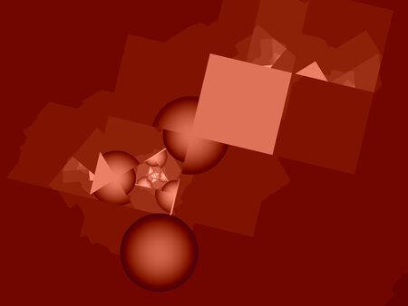 microcosm: Microcosm. Red cubes and cut spheres, computer-generated image