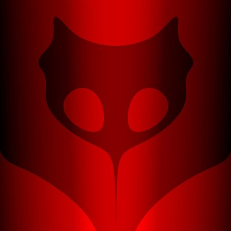 Black mask on dark red background, computer-generated image