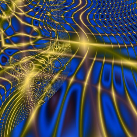 Gold lines and net on blue background, computer-generated image Stock Photo