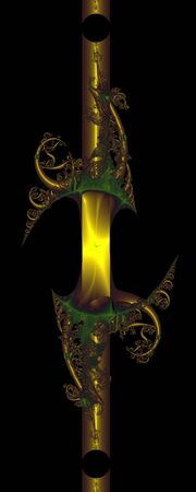 Magic staff. Gold metal staff rich in ornament, computer-generated image on black background Stock Photo