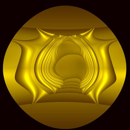 ideograph: Golden bas-relief on alien hieroglyph. Computer-generated image