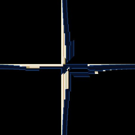 Silver and blue velure cross in suprematism style on black background. Computer-generated image Stock Photo