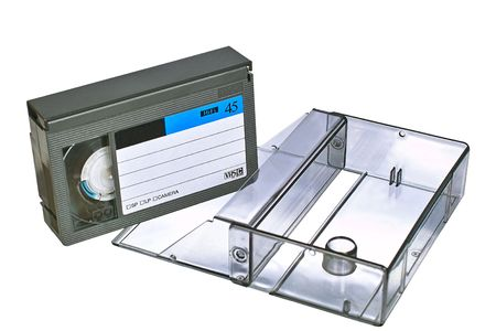 video cassette with transparent plastic case. Isolated close-up image on white background