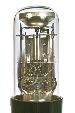 Indicator radio tube macro. Isolated image on white background Stock Photo