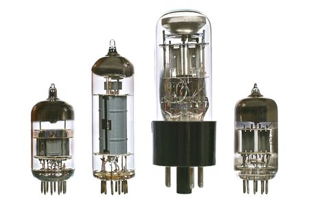 Vacuum electronic radio tubes. Isolated image on white background