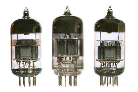 Vacuum electronic radio tubes. Isolated image on white background photo