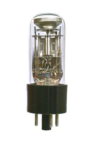 Indicator radio tube macro. Isolated image on white background photo