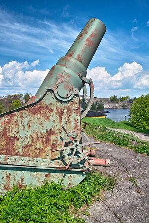 Historical fortress cannon, the early 20th century. Sweaborg fortress, Finland Stock Photo - 7151193