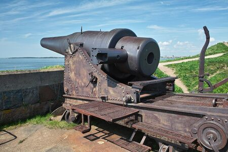 Historical fortress cannon, the early 20th century. Sweaborg fortress, Finland