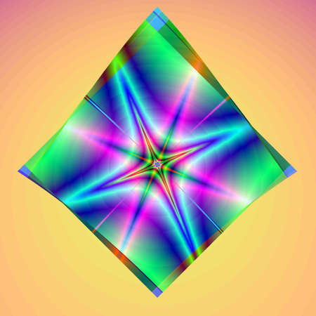 Abstract rainbow star. Computer generated fractal image