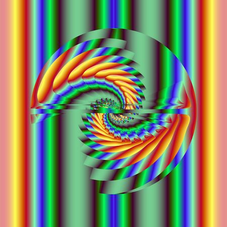 Abstract rainbow helix. Computer generated fractal image
