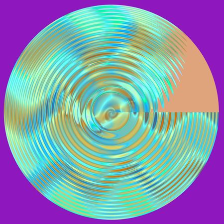 Abstract psychedelic multicolored glass disc. Isolated object. Computer generated fractal