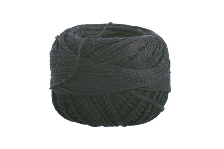 Clew of black cotton yarn macro image on white background Stock Photo
