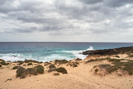 Sandy beach and breaking waves under cloudy sky Stock Photo - 9688165