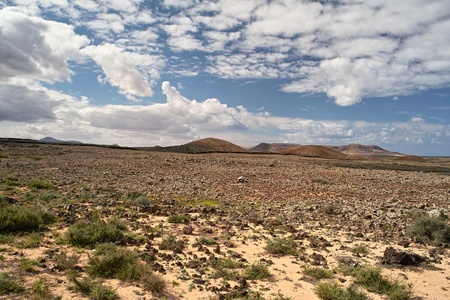 Stony desert and volcanic hills on Fuerteventura island, The Canaries