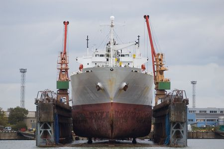 shipper: sea vessel in dry dock under repair