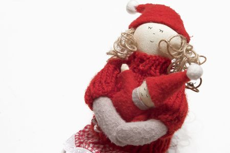 hand-made doll in red outfit photo