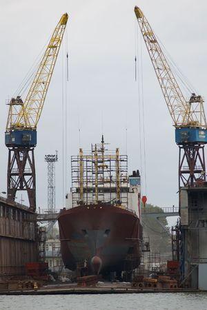 sea vessel in dry dock
