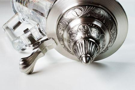 pewter mug: glass beer mug with tin cover
