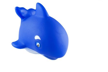 squeaky clean: generic bath toy, blue rubber killer whale (orca)