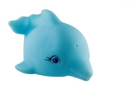 squeaky clean: generic bath toy, light blue dolphin Stock Photo