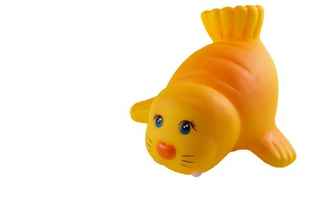 squeaky clean: bath toy, yellow rubber walrus