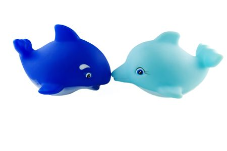 bath toys, blue orca and turquoise dolphin Stock Photo