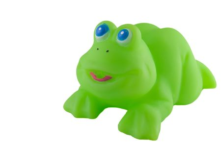 bath toy, bright green rubber frog Stock Photo - 966523