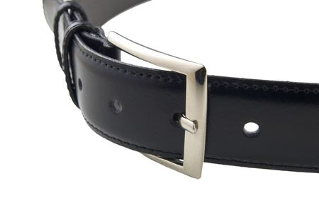 black leather belt with buckle fastened photo