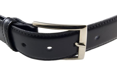 black leather belt with fastened buckle photo
