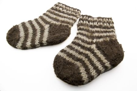 child woolen striped socks isolated on white