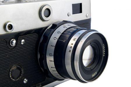 analogue: old rangefinder camera isolated on white Stock Photo