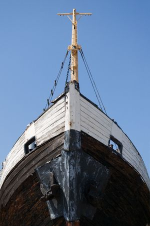 ship bow: old wooden ship bow  from the bottom Stock Photo