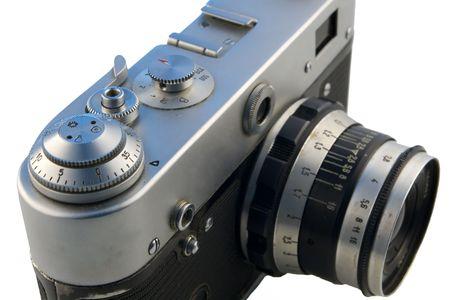 rangefinder: old rangefinder camera isolated on white Stock Photo