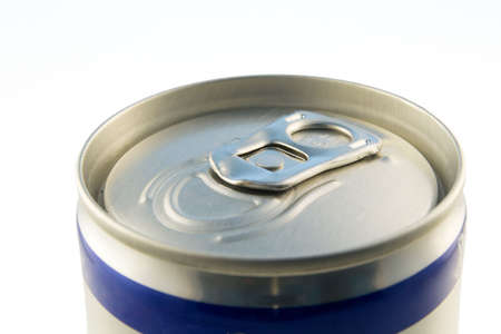 closed lid of a beverage can with blue line on a can Stock Photo - 1125925