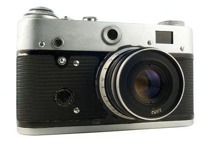 rangefinder: old soviet range-finder camera isolated on white