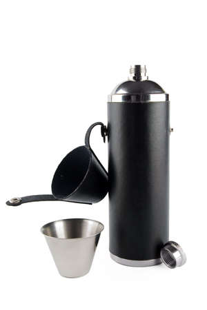 hoary: opened hip flask and steel cup isolated on white Stock Photo