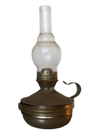 oillamp: old oil-lamp isolated on white