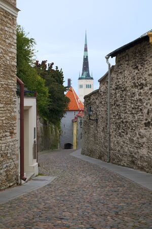 empty street imn the Tallinn old city photo
