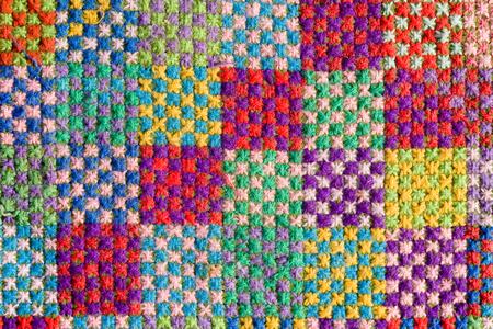 handmade woven woolen rug texture Stock Photo