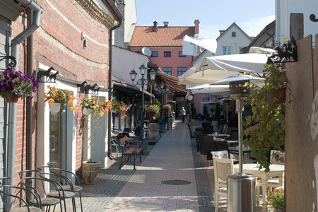 pedestrian passage with cafes in Klaipeda old town photo